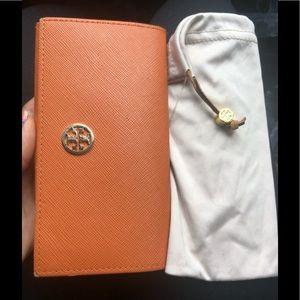 Tory Birch Orange Sunglass Case & Soft Cloth Case
